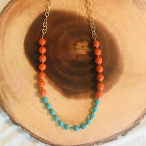 Jewelry - Turquoise and Orange long Beaded Necklace